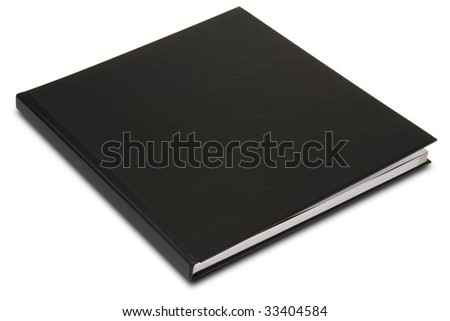 a black hardcover book on white - stock photo