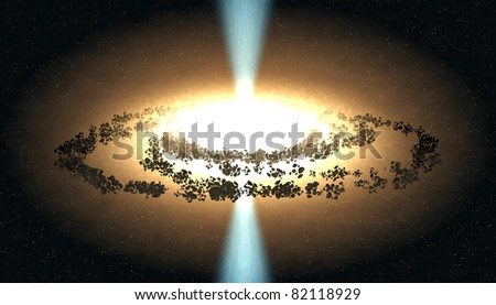 A black hole attracting space matter. Digital illustration - stock photo