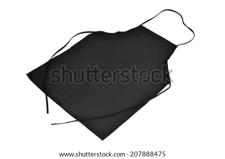 a black kitchen apron on a white background - stock photo