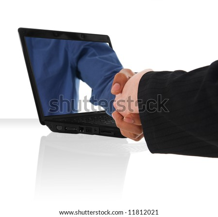 a black laptop computer with a virtual hand shake - stock photo