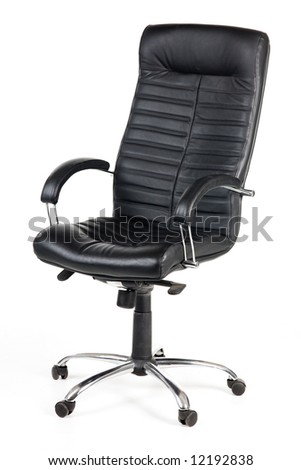 A black leather chair isolated on white - stock photo