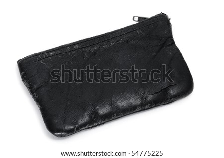 a black leather coin purse isolated on a white background - stock photo