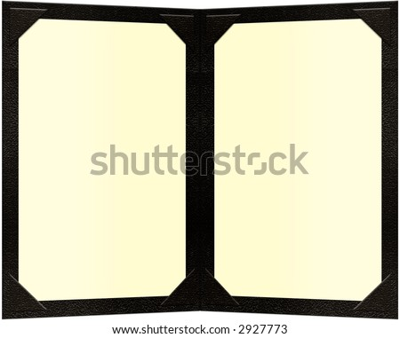 a black leather double paged menu - stock photo