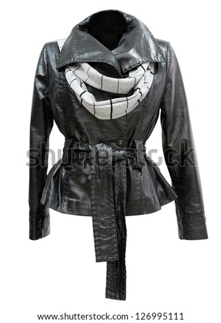 a black leather ladies jacket with a scarf, isolated, clipping path - stock photo