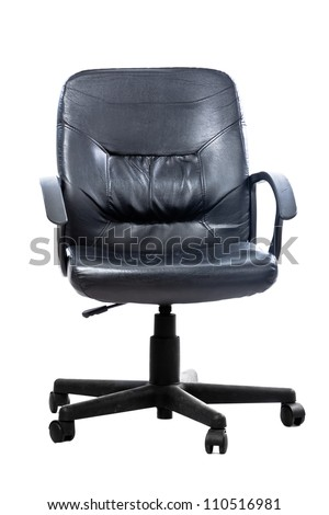 a black leather office chair isolated on white