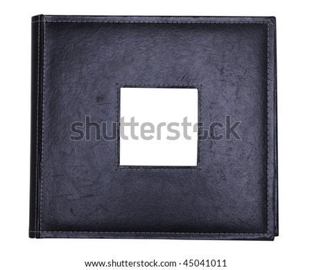 a black leather photo album with photo insert