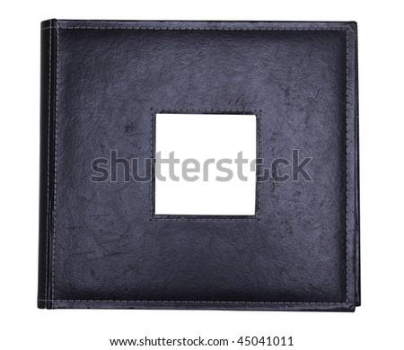 a black leather photo album with photo insert - stock photo