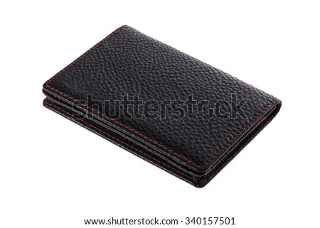 A black leather wallet(inside is red) with red stitch isolated white.