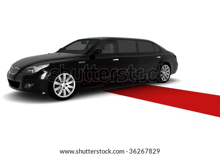 A black limousine with a red carpet - stock photo