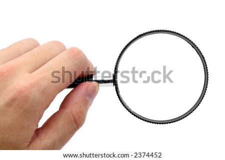 A black magnifying glass with white background
