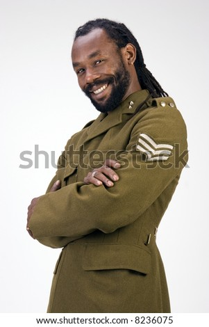A Black man in a Army jacket isolated on a white background. - stock photo