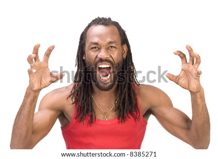 A black man isolated on a white background.