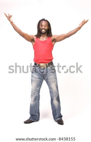 A black man isolated on a white background. - stock photo