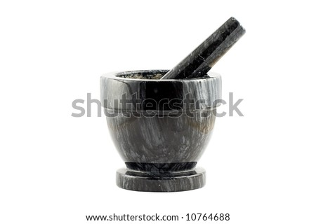 A black marble mortar isolated on white, including clipping path for easy editing.