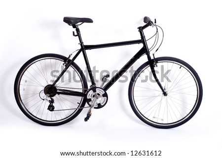 a black men's bicycle on a white background