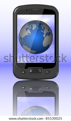 A black mobile phone and the Earth displayed on a screen / Mobile phone and World