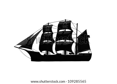 A black mysterious medieval pirate ship isolated against white. - stock photo