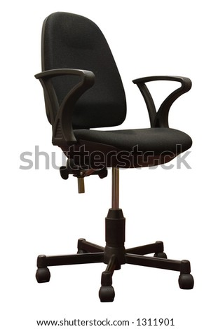 A black office chair. Isolated with path. - stock photo
