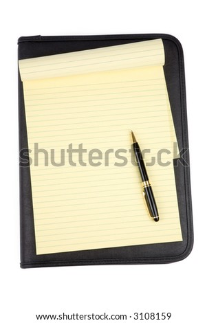 a black padfolio and letter paper with white background