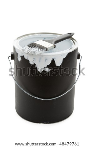 a Black Paint Can and Paintbrush