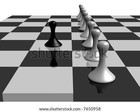 a black pawn facing several white pawns in a chess board - stock photo