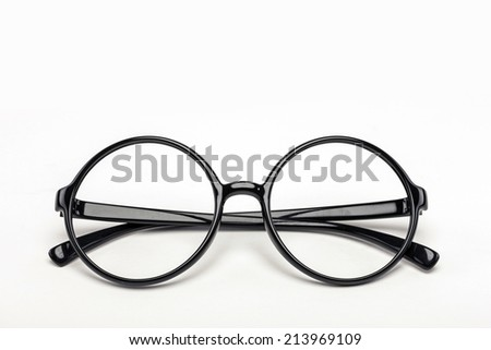 A black plastic full circle eyewear on the white background.