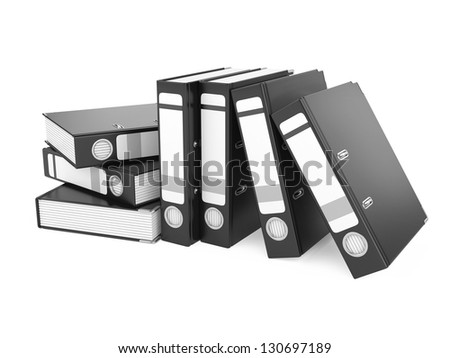 a black ring binder isolated on a white background - stock photo