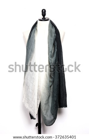 A black scarf with mannequin isolated white.