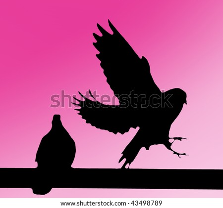 A black silhouette of two doves on purple background. - stock photo