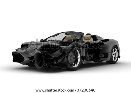 A black sport car accident on a white background - stock photo