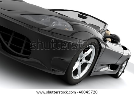 A black sport car isolated on white - stock photo