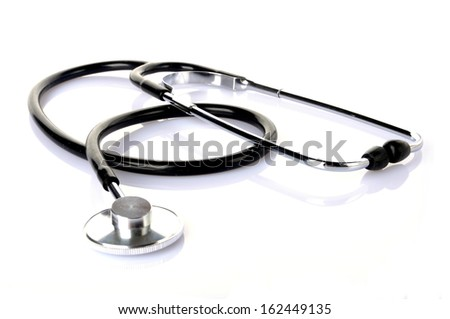 a black stethoscope isolated on white background - stock photo