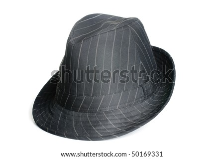 A black striped classic looking fedora men hat. - stock photo