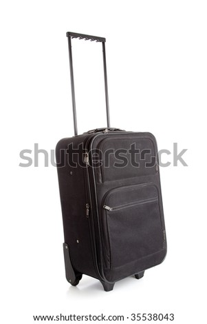 A black suitcase with wheels on a white background, travel concept