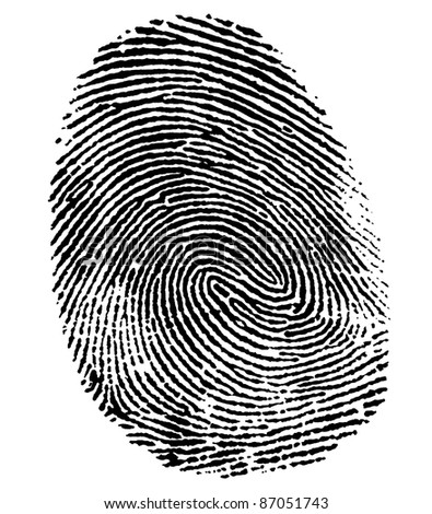 a black thumb fingerprint in white back - stock photo