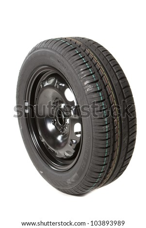 a black tire for a car spare - stock photo