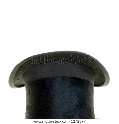 A black tophat isolated on white - stock photo