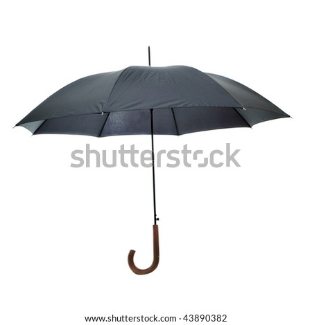A black umbrella isolated on a white background with a brown wood handle.