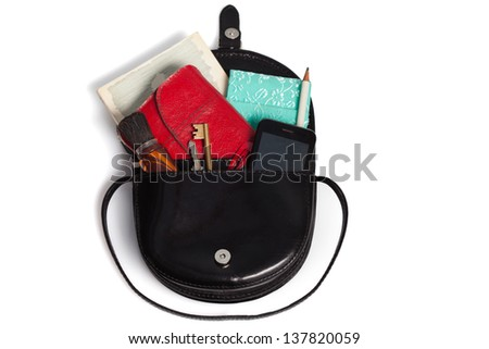 A black woman bag in a white background