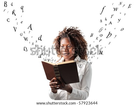 A black woman is reading a book from which the letters are coming out - stock photo