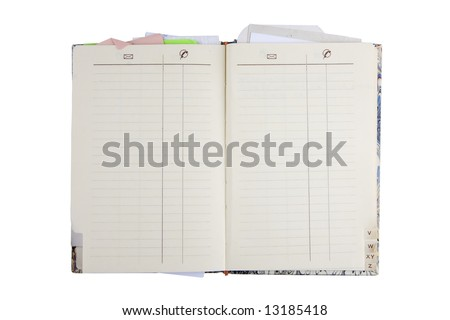 A blank address book isolated on white - stock photo