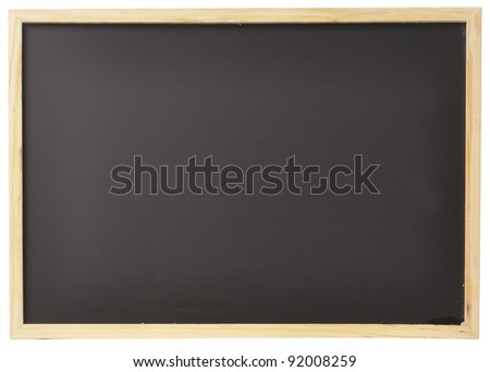 A blank black board is isolated on a white background.