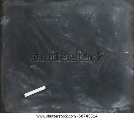 a blank blackboard, chalkboard and chalk straight on - stock photo