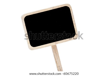 a blank blackboard label isolated on a white background - stock photo