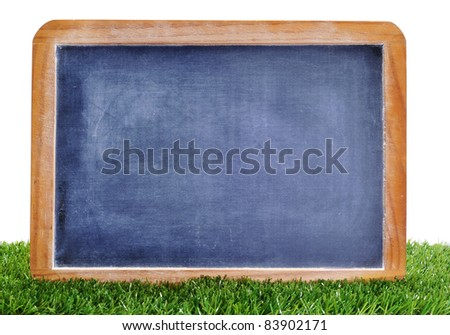 a blank blackboard on the grass to insert such as soccer matches or scores - stock photo