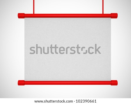 A blank board over white. 3d render - stock photo