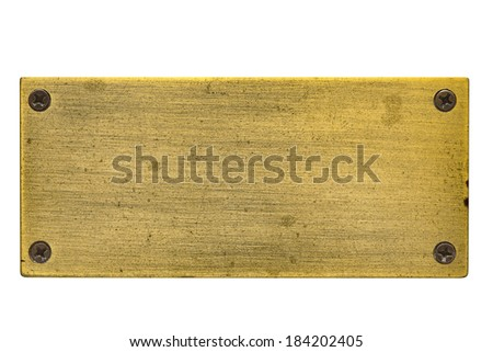 A blank brass nameplate that has scratches and tarnished areas due to age and neglect. - stock photo
