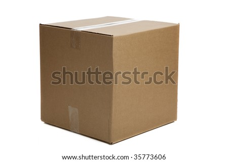 A blank, brown, corrugated cardboard box or shipping box on a white background - stock photo