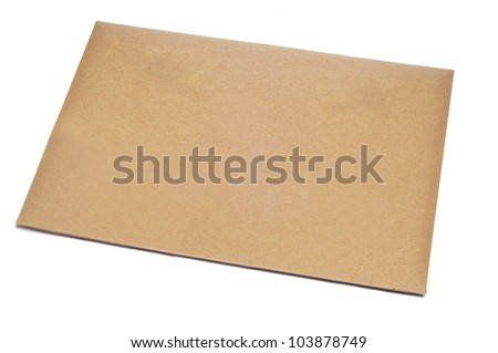 a blank brown envelope on a white background - stock photo