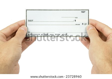 A blank check held in a man's hand. - stock photo